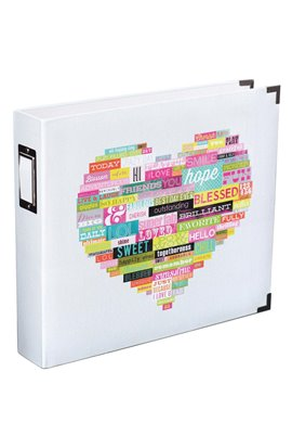 Heidi Swapp - Printed White Heart Album 12 x 12''