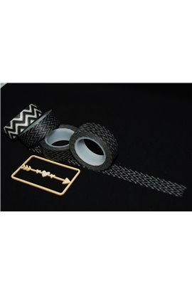 Washi Tape nero con chevron sottile