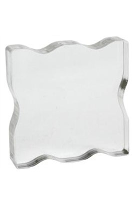 "Acrylic Stamp Block  2.25""X2.25"" con finger grips"