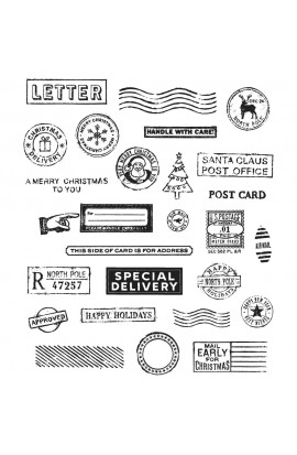 "Tim Holtz Cling Stamps 7""X8.5"" - Holiday Postmarks"