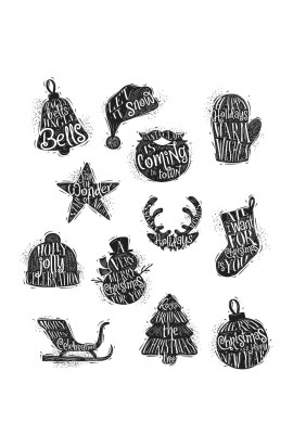 "Tim Holtz Cling Stamps 7""X8.5"" - Mini Carved Christmas"